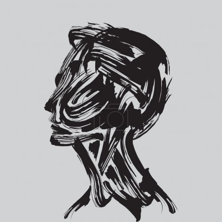 Illustration for Human head thinking. - Royalty Free Image