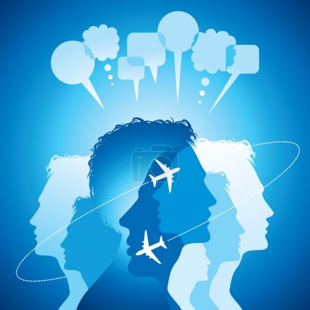 Background of flying planes with communicate people
