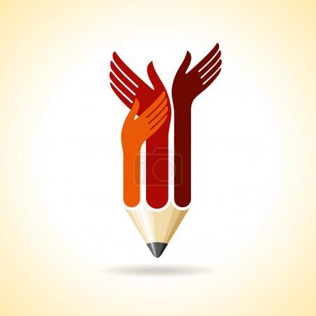 Happy hands with pencil