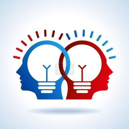 Illustration pour Têtes humaines avec symbole Ampoule Concepts d'entreprise - image libre de droit