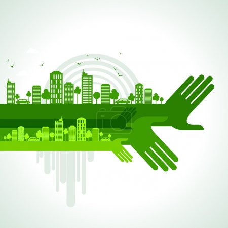 Illustration for Eco friendly hand concept, vector - Royalty Free Image
