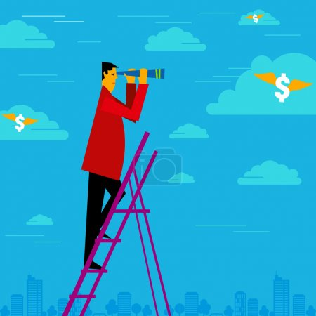 Illustration for Happy businessman holding binoculars and watching the money cloud - Royalty Free Image