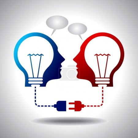Illustration for Business idea connection two heads connected - Royalty Free Image