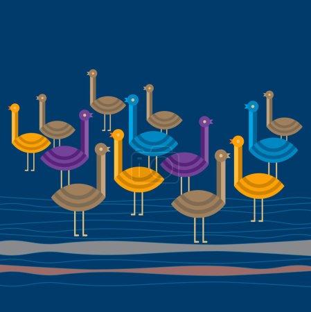 Illustration for Birds on blue background - Royalty Free Image