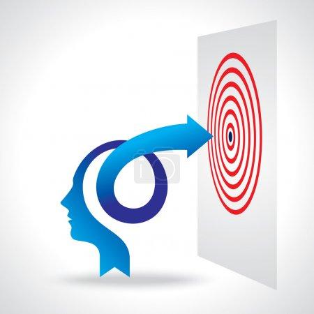 Illustration pour Esprit d'entreprise et flèche, illustration vectorielle - image libre de droit