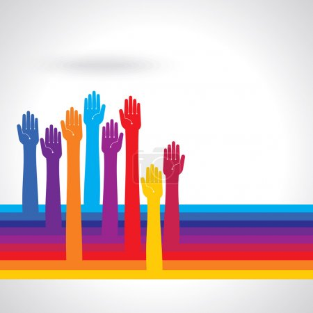 Team symbol Multicolored hands