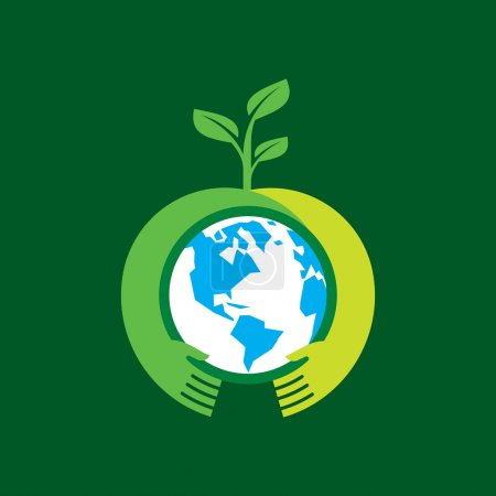 Illustration for Helping hand make tree on earth - vector illustration - Royalty Free Image
