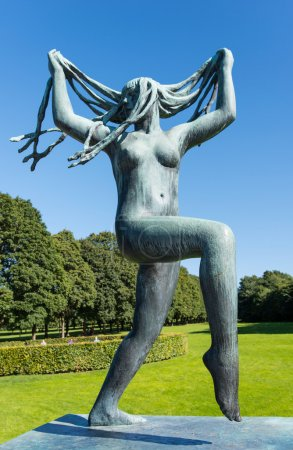 Vigeland statue girl with long hair