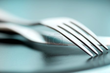 Photo for Artistic cutlery fork and knife - Royalty Free Image