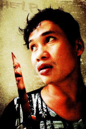 Photo pour Se battre ou mourir, coup d'oeil de crime scène grunge - image libre de droit