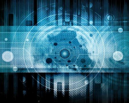 Photo pour Bleu Futuriste Résumé Arrière-plan, Grunge Design - image libre de droit