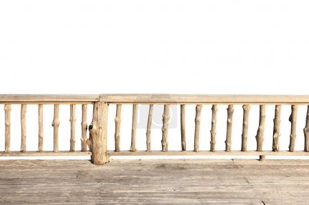 Wooden terrace isolated on white background with clipping path