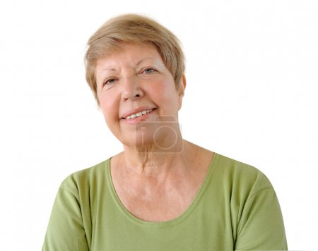Portrait of elderly woman on the white background...