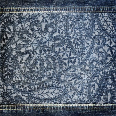 Background denim texture with lace pattern