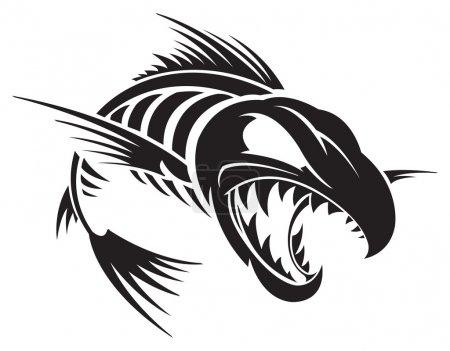 Illustration pour Squelette de poisson - image libre de droit