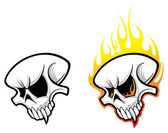 Skulls with flames