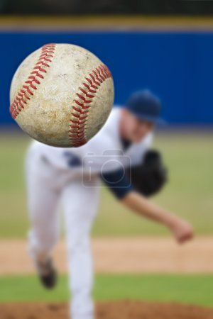 Photo for Baseball pitcher throwing ball, selective focus - Royalty Free Image
