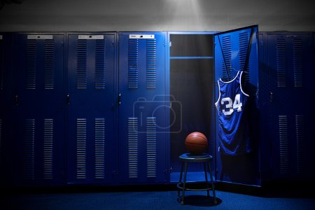 Photo for Basketball locker room with spotlight on the ball and locker - Royalty Free Image