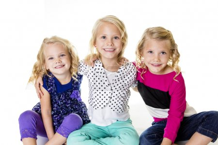Photo for Three Smiling Little Girls Portrait - Royalty Free Image
