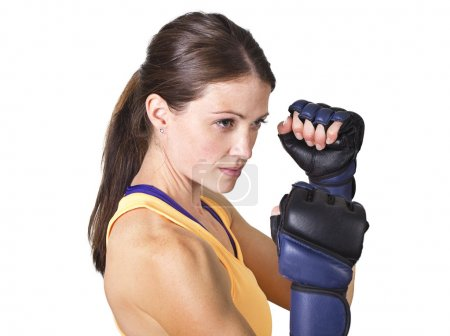 Beautiful woman boxing and fitness training