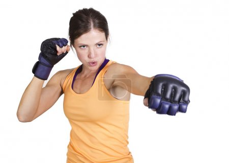 Beautiful woman boxing and fitness training