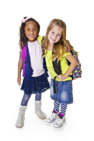 Cute diverse school students