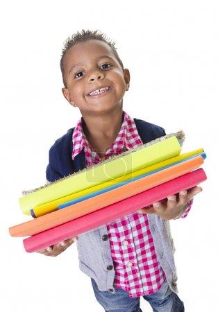 Cute Diverse little student carry school books