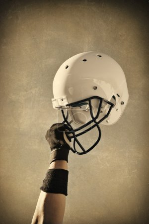 Football helmet sepia toned