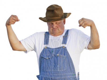 Old Man Flexing Muscles