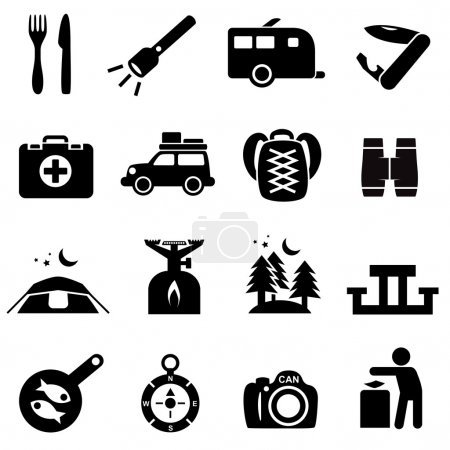 Illustration for Camping icons black on white. Silhouettes of outdoor recreation related objects. - Royalty Free Image