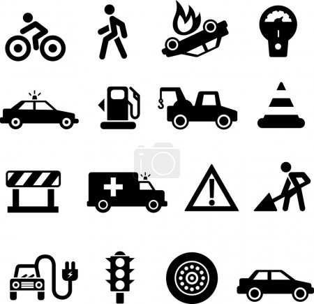 Illustration for Traffic icons black on white background - Royalty Free Image