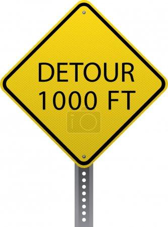 Illustration pour Détournez le panneau d'avertissement de 1000 pieds. Des panneaux de signalisation en forme de diamant avertissent les conducteurs des conditions routières et des dangers à venir . - image libre de droit