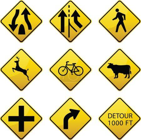 Warning traffic signs icons