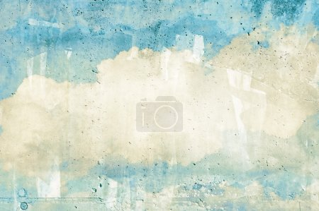 Photo for Cloud, sky painted on a wall texture - Royalty Free Image
