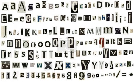 Photo for Newspaper magazine alphabet with numbers and symbols - Royalty Free Image