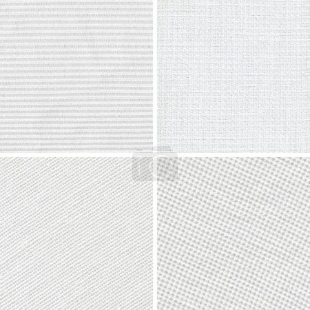 Set of woven white fabric texture