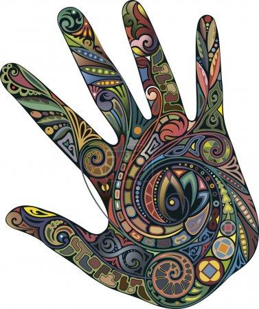Illustration pour Empreinte main droite avec ornements floraux . - image libre de droit