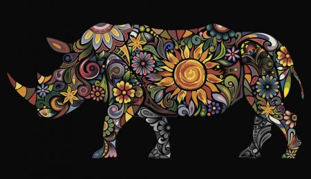 Illustration for Rhino silhouette with floral patterns - Royalty Free Image