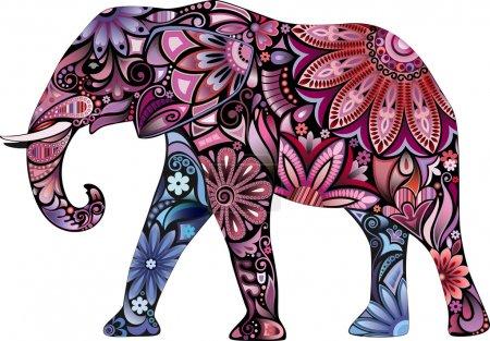 Illustration pour L'éléphant joyeux. La silhouette de l'éléphant recueillie à partir de divers éléments d'un ornement de fleurs . - image libre de droit