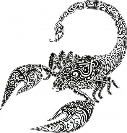 Illustration for Scorpio, black & white - Royalty Free Image