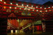 Ponce famous old firestation Parque De Bomba at dusk