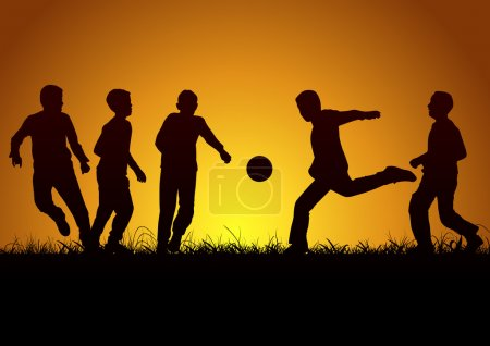 Five boys playing football