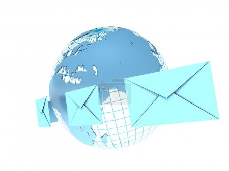 Concept of mail. Earth and envelopes...