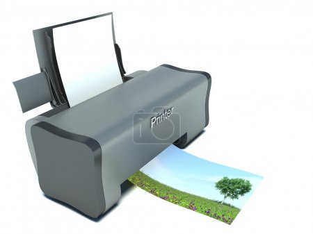 Modern Printer with Blank Paper and Printing Photo isolated on w