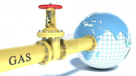 gas pipe attached to the planet earth