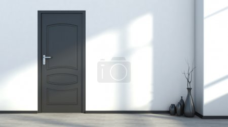 white empty interior with a black door and vase