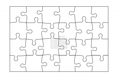 Jigsaw Puzzle template 24 pieces vector.