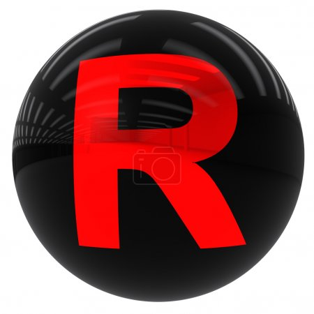 Kugel mit dem Buchstaben r