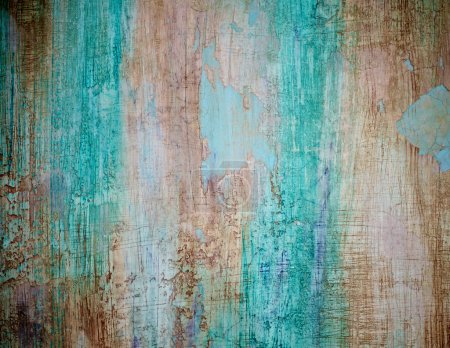 Photo for Turquoise Brown Obsolete Cement Wall Background closeup - Royalty Free Image