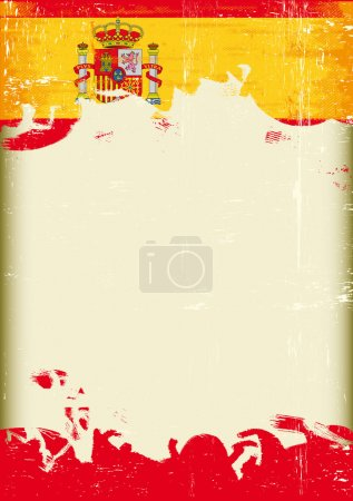 Illustration for A poster with a large scratched frame and a grunge spain flag for your publicity - Royalty Free Image